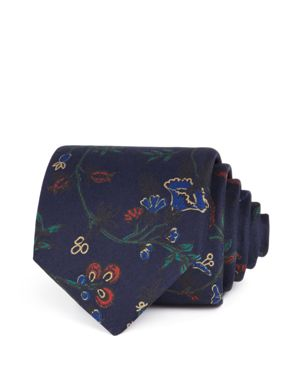 DRAKE'S Exploded Floral Classic Tie in Navy