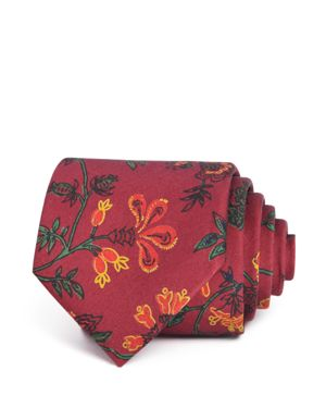 DRAKE'S Exploded Floral Classic Tie in Rust