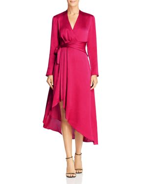 Adisa Asymmetric Wrap-Effect Satin Dress, Amaranth