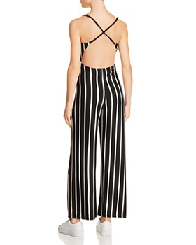 Olivaceous - Strappy Striped Jumpsuit