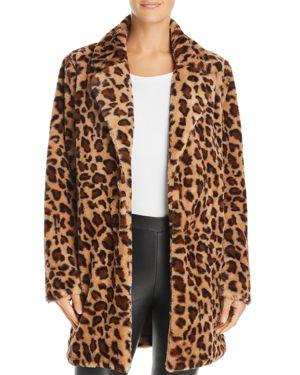 RE:NAMED Re: Named Kimora Faux-Fur Leopard Coat in Brown