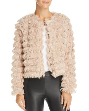SAGE THE LABEL Sage The Label Prism Faux-Feather Jacket in Natural