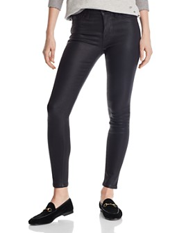 Hudson - Nico Mid Rise Ankle Super Skinny Jeans in Noir Coated