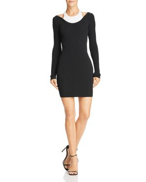 Fitted Long-Sleeve Layered Viscose Short Dress, Black/White