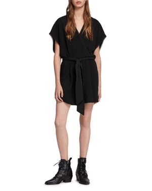 Reid Kimono-Style Romper, Black