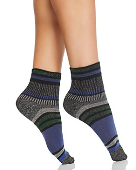 HUE - Striped Metallic Shortie Socks