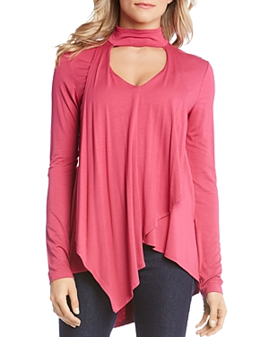Karen Kane Draped Mock-Neck Keyhole Top