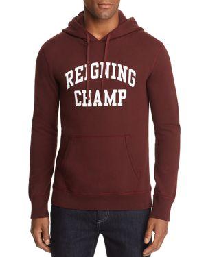 REIGNING CHAMP Ivy League Logo-Print Hooded Sweatshirt in Crimson