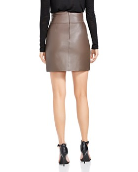 HALSTON HERITAGE - Leather Tie-Waist Mini Skirt