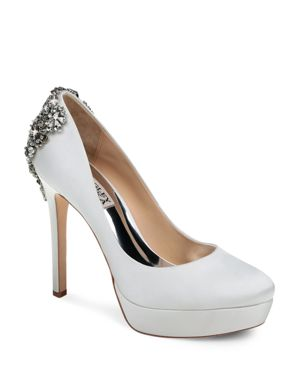Women'S Viola Almond Toe Embellished Satin Platform High-Heel Pumps, White