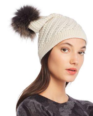 RAFFAELLO BETTINI Fur Pom-Pom Cashmere Beanie - 100% Exclusive in Ivory