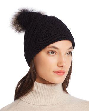RAFFAELLO BETTINI Fur Pom-Pom Cashmere Beanie - 100% Exclusive in Black
