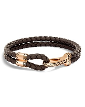 John Hardy - Classic Chain Brown Leather & Bronze Hook Bracelet