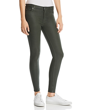 7 For All Mankind Coated Ankle Skinny Jeans in Moss Green