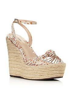 SCHUTZ - Women's Gianne Floral Leather Espadrille Platform Wedge Sandals