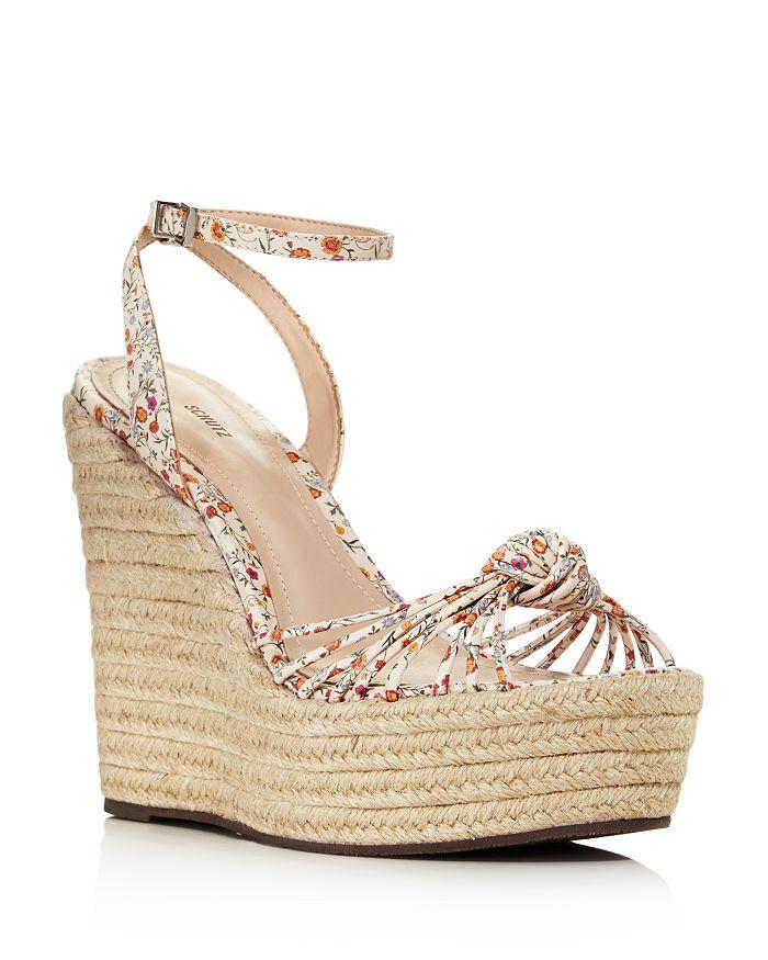 4ab1a5530092 SCHUTZ - Women s Gianne Floral Leather Espadrille Platform Wedge Sandals
