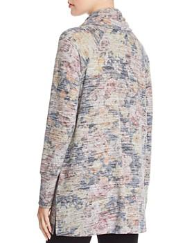 Cupio - Cowl Neck Space-Dye Floral Tunic