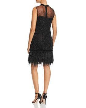 Elie Tahari - Mirage Beaded Feather-Hem Dress