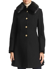 Laundry by Shelli Segal - Faux Fur Collar Lace-Up Back Coat