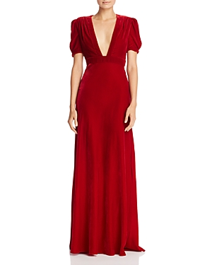 Jill Jill Stuart Plunging Velvet Gown