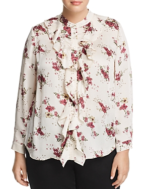 Vince Camuto Plus Ruffle Front Floral Blouse