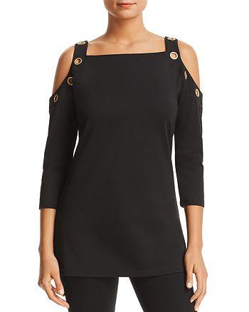 30772a3d9b8382 Donna Karan - Cold-Shoulder Grommet Top