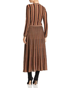 Marella - Panteon Mixed Stripe & Metallic Effect Dress