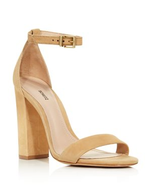 SCHUTZ Women'S Enida Nubuck Leather High Block Heel Sandals in Lightwood Nubuck Leather