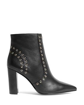 KAREN MILLEN - Women's Eyelet Pointed Toe Leather Stacked Heel Boots