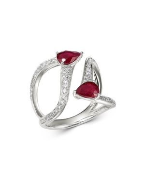 Bloomingdale's Ruby & Diamond Statement Ring in 14K White Gold - 100% Exclusive