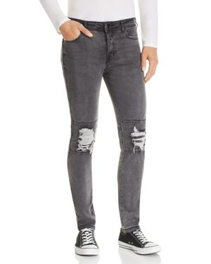 NANA JUDY Nana Judy Legacy Destroyed Slim Fit Jeans In Black Brushed