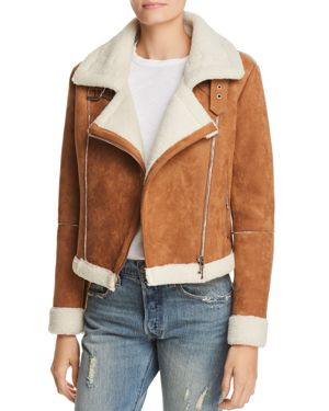 Quincy Faux-Suede Moto Jacket in Brown/White