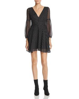 Star Foil Print Dress, Black