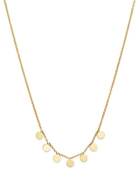"""Zoë Chicco - 14K Yellow Gold Itty Bitty Dangling Round Discs Necklace, 16"""""""