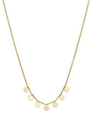 Zoe Chicco 14K Yellow Gold Itty Bitty Dangling Round Discs Necklace, 16-Jewelry & Accessories