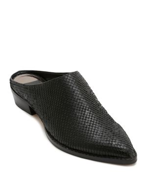 Women'S Aven Snake-Embossed Leather Mules in Black