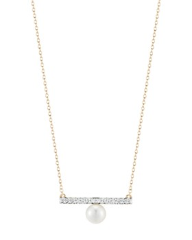 """MATEO - 14K Yellow Gold Diamond & Cultured Freshwater Pearl Bar Pendant Necklace, 16"""""""