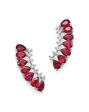 Bloomingdale's Ruby & Diamond Climber Earrings in 14K White Gold - 100% Exclusive