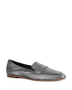 eb78f466124 Reiss Women S Elba Metallic Leather Loafers In Pewter