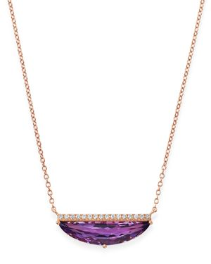 Bloomingdale's Amethyst & Diamond Pendant Necklace in 14K Rose Gold, 18 - 100% Exclusive