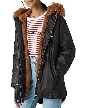 Whistles Faux-Fur-Lined Waxy Parka