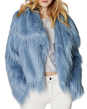 SAGE Collective Glacier Faux Fur Jacket in Blue