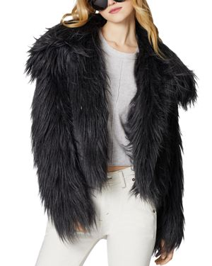 SAGE Collective Glacier Faux Fur Jacket in Charcoal