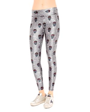 TEREZ Skull-Print Tall Band Activewear Leggings in Gray Pattern