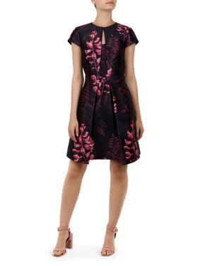 Jebby Splendor Jacquard Fit & Flare Dress, Black