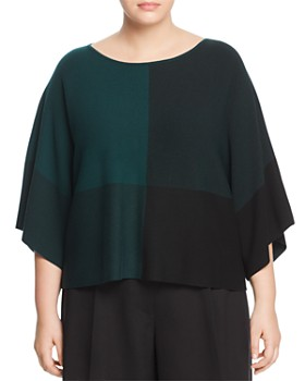 Eileen Fisher Plus - Cropped Bateau Neck Color Block Top