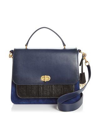Tory Burch Bennett Leather & Suede Color-Block Shoulder Bag