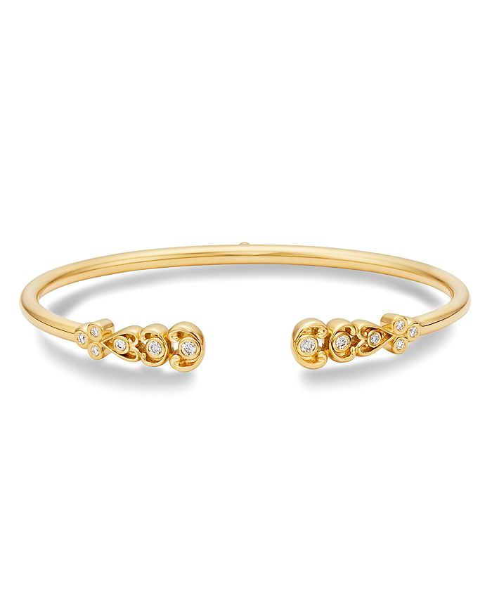 Temple St. Clair 18k Yellow Gold Dynasty Bellina Diamond Bangle Bracelet In White/gold