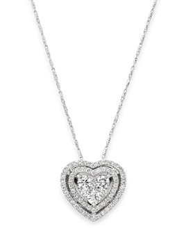 Bloomingdale's - Diamond Halo Heart Pendant Necklace in 14K White Gold, 1.0 ct. t.w. - 100% Exclusive