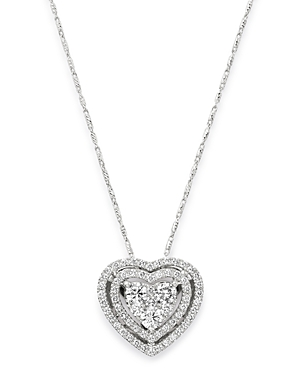 Bloomingdale's Diamond Halo Heart Pendant Necklace in 14K White Gold, 1.0 ct. t.w. - 100% Exclusive